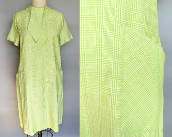 mojito / 1960s lime green plaid secretary shift dress / 14 16 large xl
