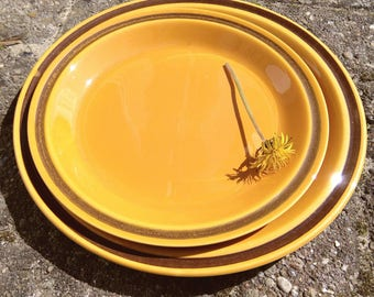 "Egersund Norway ""Unique"" cake bread plate Kaare Block Johansen Scandinavian design orange brown retro tableware"