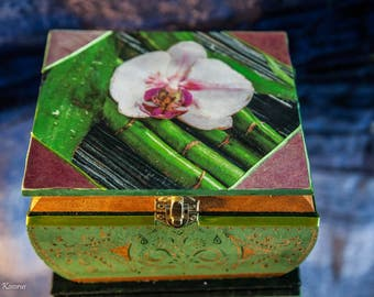 Hand painted box with orchid motif