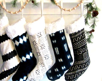 Mudcloth Christmas Stockings / African Mud Cloth Shearling Indigo Black White Striped Natural Dye Ornament Bogolanfini Holiday Decor Linen