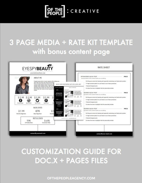 3Page Media Kit Template – Rate Sheet Template