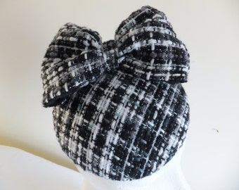 Hand Made Black White and Grey Woolen Small Button Hat with Fabric Bow