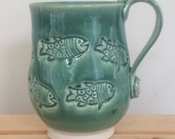Handmade Clay Fish Mug, Pottery Fish Mug, Ready to Ship