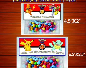 Pokemon Bag Toppers-Printables Pokemon Bag Toppers-Pokemon Favors-Digital Pokemon Bag Toppers-Pokemon Party Decoration-DIGITAL DOWNLOAD