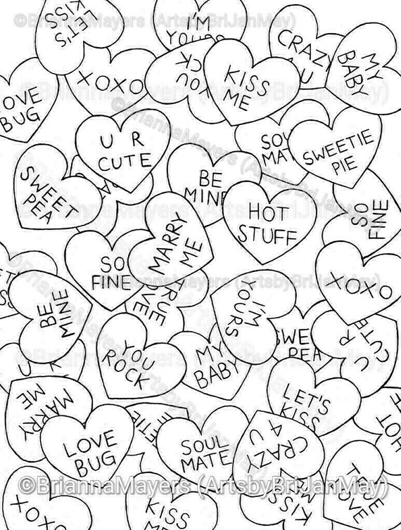 printable conversation hearts coloring pages - photo#18