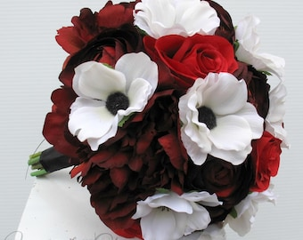 Wedding bouquet - Bride bouquet, White Anemone bouquet, Red rose peony Bridal bouquet, Silk flower bouquet