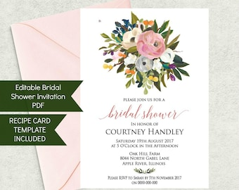 Printable Bridal Shower Invitation Template and Recipe Card Set, Instant Download, Floral theme WLP240