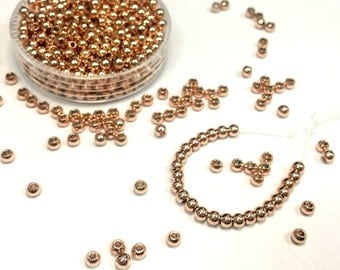 Brass Beads 3mm 4mm 100pcs Metal Beads Seamless Spacer Tiny Metal Beads Small Beads Rhodium 18K Gold Rose Gold Plated Beads Findings