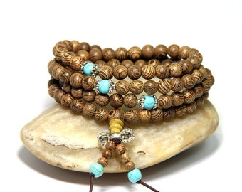108 Wenge Wood Mala Beads 6mm 8mm Buddhist Prayer Beads Meditation Yoga Beads Wenge Wood Turquoise Beaded Bracelet Prayer Beaded Necklace