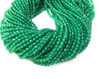 Green Agate Faceted Beads 2mm 3mm Green Onyx 2mm 3mm Small Green Beads Tiny Green Beads Tiny Green Gemstones Minimalist Jewelry Supplies