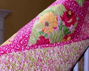 "Handmade Hibiscus Quilt, 52"" x 71"", Pink, Green, Yellow, Modern Quilt, Patchwork, Contemporary Quilt, Red Border, Home Decor,"