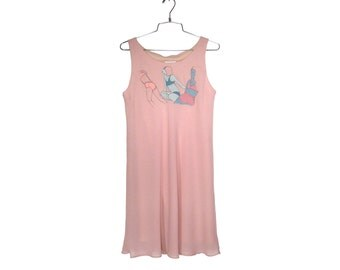 One of a Kind Hand Painted Women Sheer-layered Dusty Pink Dress (Size 7-8)