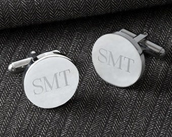 Personalized Classic Round Cufflinks, Monogrammed Cufflinks,Personalized Cuff Links