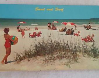 Postcard ~ Sand and Surf ~ Beach Scene