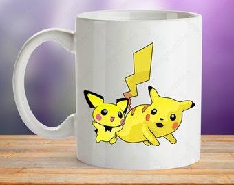 Pikachu mug, Pokemon mug gift, Pichu gift cup, Pikachu cup for manga lover, Electric Pokemon mug, gift for him, gift for her, Baby Pichu Cup