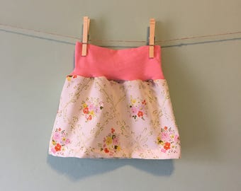 Baby Girl Vintage Floral and Pink Skirt