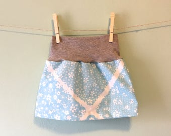 Light Blue and Gray Baby Girl Vintage Skirt with Upcycled Cotton Waistband