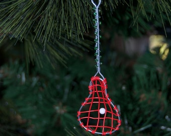 Beaded Lacrosse Stick Holiday Ornament