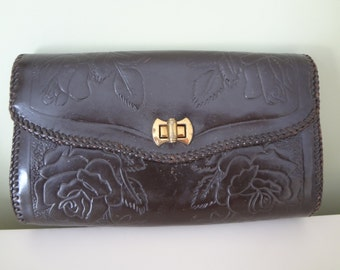 Vintage Leather Bag Clutch Purse 60s