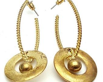 Gold tone Metal Drop Earrings Vintage Punk Rock from the 90s Steampunk Mechanical Industrialization Hard core Geometrical Grunge Skinhead