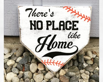 There's no place like home, Baseball sign, home plate, home base, softball, MLB, hand painted wood sign