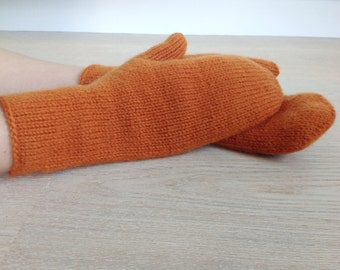 Hand-knitted mittens / Warm Winter mittens / Arm warmers / Warm mittens / Potter's Clay color / 100% wool