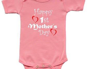 Short Sleeve Bodysuit - Happy 1st Mothers Day