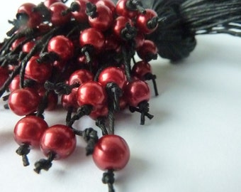 Red pearls  Necklace. Black linen necklace. Handmade neklace