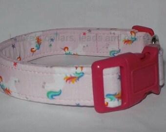 Handmade unicorn fabric dog collar , dog collar , adjustable , small , medium , large , black , rainbows , unicorn , magical