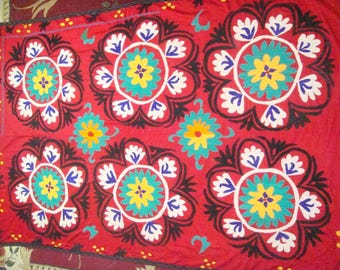 Big Sale!!! Vintage UZBEK SUZANI Handmade silk Embroidery on cotton fabric (220 x 142 cm 87 х 56 inch)