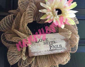 Love never fails wreath