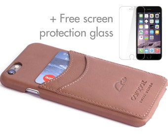 iPhone 6 Leather Case - Comes with Protection Glass - iPhone 6 Leather Cover- iPhone 6 Slim Case - Cards - Genuine Leather - ROSY BROWN