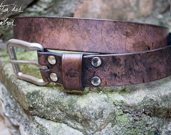 Leather belt 38mm antique black