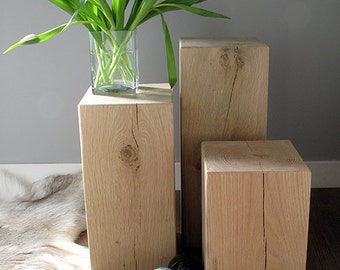 Heavy solid oak block beam lamp or side end tables. Set of 3 mixed sizes in natural/light oak with a clear wax finish.