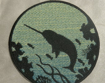 Embroidered Narwhal Ocean Silhouette Blue Ombre Circle Patch Iron On Sew On USA
