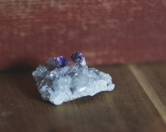 ON SALE- Raw Amethyst stud earrings