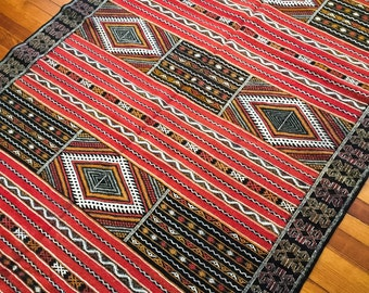 """Moroccan Wool Rug, Hand knotted, Zemmour/Kilim style """"Naim"""""""