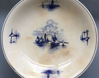Antique Villeroy & Boch WALLERFANGEN cake stand,  Blue on white ships and lighthouses,1874-1909, Made in Saar-basin