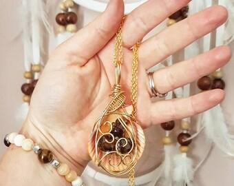 Smokey quartz necklace // Mooralla smokey quartz // Wire wrapped // Reiki infused