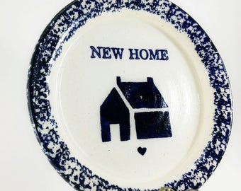 vintage blue sponge painted NEW HOME dish, 1992 Three Rivers Pottery Ingrid #60,country decor trinket, coin, jewelry dish, housewarming gift