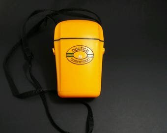 vintage Nautica Competition floating valuables keys container for boating, bright yellow boating accessory,unique 1990s Nautica collectible