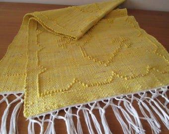 Handmade woven table runner   Yellow table runner   Home decor   Kitchen decor  