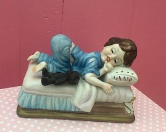 Vintage 1950s Royal Crown Figurine, Sleeping Girl Figurine Knick Knack, Mid Century Kitschy Figurine