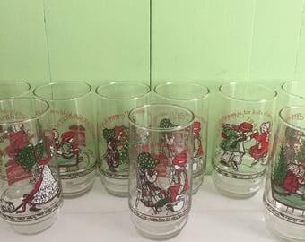 Vintage 1970s Holly Hobbie Drinking Glasses Set of Nine, Vintage Holly Hobbie Coca-Cola Christmas Glasses, Vintage Holly Hobbie Decor