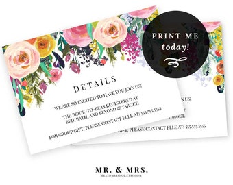 Editable Details Information Card | Registry Card | Invitation Insert Card | DIY Instant Download Watercolor Details Card | MAM106_18
