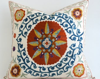 SALE- Blue Beige Suzani Cushion cover Sofa Pillow Embroidered Suzani Pillow Cover Suzani Pillowcase Floral Pillow Throw Pillow Accent Pillow