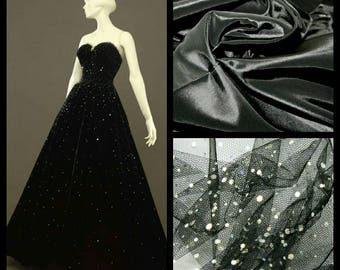 Custom Made 1950's black Strapless Tulle and sequin Dress