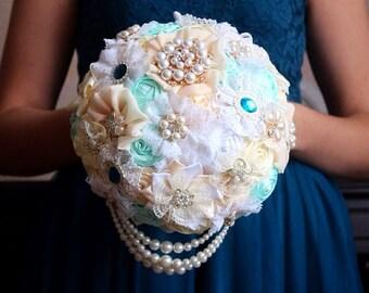 Brooch bouquet, boutonniere for brooch bouquet, green set. Boutonniere, boutonnier. Ivory wedding  accessories