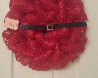 santa wreath/ Christmas wreath, Santa, Christmas, red, holiday decor,
