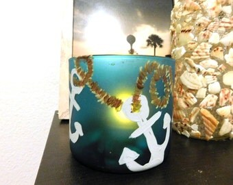 Blue Anchor Jar - Handpainted